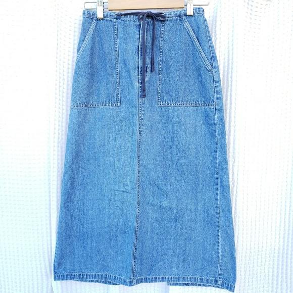 ad7ec368d0 Eddie Bauer Skirts | Midi Jean Skirt Size Petite 2 | Poshmark